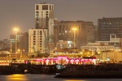 Doha miasto iluminujący przy nocą, Katar Zdjęcia Stock