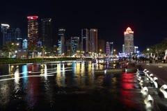 Doha at night, Qatar. QATAR, DOHA, MARCH 25, 2018: Night Doha - capital and most populous city in Qatar, Persian Gulf, Arabian Peninsula, Middle East stock photos