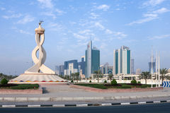 Doha oryx and towers Royalty Free Stock Photos