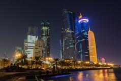 Doha på natten, Qatar Arkivfoton