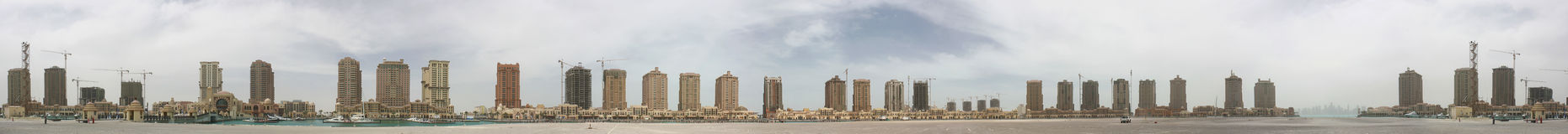 Doha Pearl Panorama Stock Photography