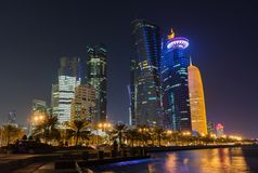 Doha przy nocą, Katar Zdjęcia Stock