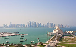 Doha qatar. View of doha's new business district looking over the harbor Royalty Free Stock Photo