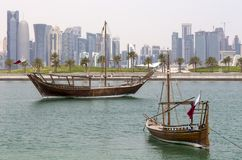 Dhows and towers stock image