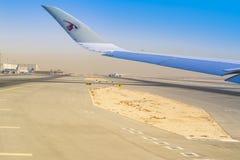 DOHA, QATAR -04 Augustus 2018 - de Vliegtuigen van Qatar Airways QR worden opgesteld in Hamad International Airport in Doha stock fotografie