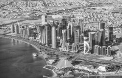 DOHA, QATAR - DECEMBER 12, 2016: Aerial view of city skyline. Do Stock Images