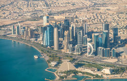 DOHA, QATAR - DECEMBER 12, 2016: Aerial view of city skyline. Do Stock Photography
