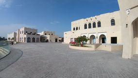 Katara Cultural Village. Doha, Qatar - February 17, 2019:Entrace of Katara village or valley of cultures in Doha, West Bay District, Qatar in a sunny day. Middle stock video footage