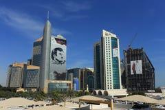 Doha towers display Emir`s portrait Stock Images