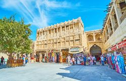 Old buildings in Doha, Qatar. DOHA, QATAR - FEBRUARY 13, 2018: Historical restored buildings in Souq Waqif are fine examples of local architecture and serve as Stock Images
