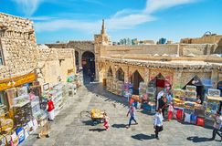 Panorama of Birds Market of Doha, Qatar. DOHA, QATAR - FEBRUARY 13, 2018: The medieval architecture of Birds Market - the most popular department of Souq Waqif Stock Photo