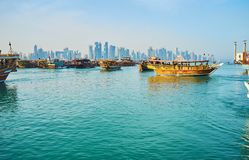 Seascape with dhow boats, Doha, Qatar Royalty Free Stock Photography
