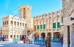 Architecture of Souq Waqif, Doha, Qatar. DOHA, QATAR - FEBRUARY 13, 2018: The old Souq Waqif is the best place to enjoy authentic architecture - mansions with Royalty Free Stock Photography