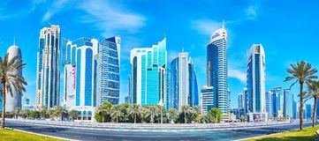 West Bay architecture, Doha, Qatar. DOHA, QATAR - FEBRUARY 13, 2018: The skyscrapers of Al Dafna are the proud of West Bay district, this newly built and fast Royalty Free Stock Photo