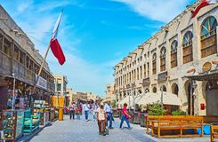 Visit old Doha, Qatar. DOHA, QATAR - FEBRUARY 13, 2018: The Souq Waqif is nice preserved and restored historical neighborhood with authentic atmosphere, trade Stock Photography