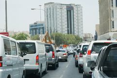 Doha, Qatar - July 6 2013 - Traffic Jam in Downtown Doha. Traffic Jam in Downtown Doha casued by construction stock images