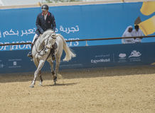 Action from the  CHI Al Shaqab 2013. DOHA, QATAR - March 30: Horseback action during the CHI Al Shaqab International equestrian event on March 30, 2013 in Doha Royalty Free Stock Image