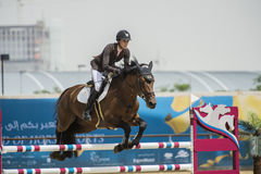 Action from the  CHI Al Shaqab 2013. DOHA, QATAR - March 30: Horseback action during the CHI Al Shaqab International equestrian event on March 30, 2013 in Doha Stock Photography
