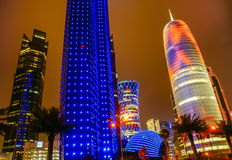 Doha,Qatar. Modern city by night, Doha, Qatar royalty free stock photos