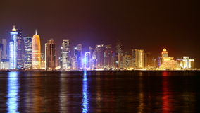 doha qatar Natthorisont Royaltyfri Bild
