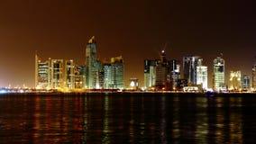 doha qatar Natthorisont Royaltyfria Bilder
