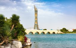 View from the Aspire Park towards the Torch stock photography