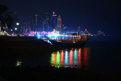 Doha, Qatar by night Royalty Free Stock Photos