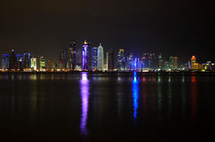 Doha, Qatar at night Stock Photo