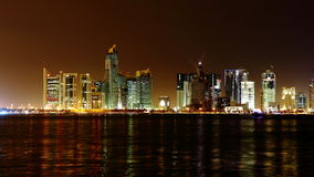 Doha, Qatar. Night skyline. Royalty Free Stock Images
