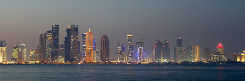 Doha, Qatar. Night time skyline of Doha Qatar stock photography