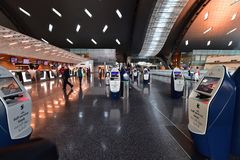 Free Doha, Qatar - Nov 24. 2019. Smart Check-in Departure Area Of Hamad International Airport. Self Service Kiosk Stock Image - 165473241