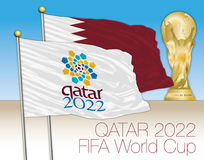 DOHA, QATAR, noviembre-diciembre de 2022 - Qatar logotipo de 2022 mundiales en la bandera y la bandera de Qatar con el mundial stock de ilustración