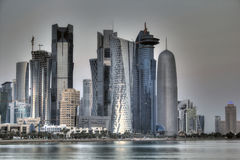 Doha Qatar skyline. With buildings and water Royalty Free Stock Photo