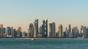 Doha Qatar skyline cityscape with skyscrapers royalty free stock photo