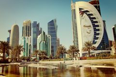Doha Qatar skyline royalty free stock photo