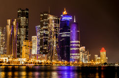 Doha, Qatar skyline at night Stock Photography