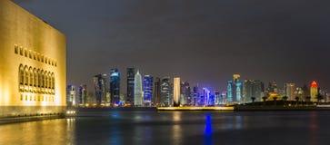 Doha Qatar skyline at night Royalty Free Stock Photography