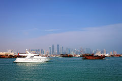 Doha Qatar small boats harbour Royalty Free Stock Image