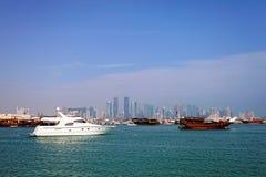 Doha Qatar small boats harbour Royalty Free Stock Image