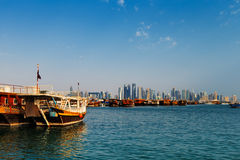 Doha, Qatar: Traditional sail boats called Dhows Royalty Free Stock Images