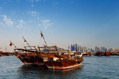 Doha, Qatar: Traditional sail boats called Dhows Stock Images