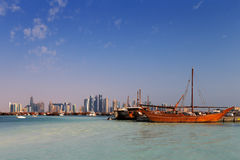 Doha, Qatar: Traditional sail boats called Dhows Royalty Free Stock Photo