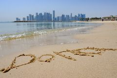 Doha in Sand with City Skyline in Background royalty free stock image