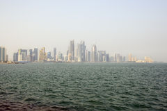 Doha skyline. Day view of doha bay with skyscrapers Royalty Free Stock Photo