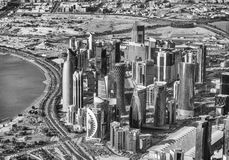 Doha skyline, aerial view - Qatar Stock Photos