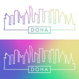 Doha skyline. Colorful linear style. royalty free illustration