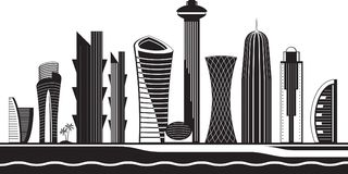 Doha skyline by day - vector illustration Royalty Free Stock Image