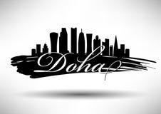 Doha Skyline Design royalty free illustration