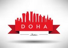 Doha Skyline Design stock illustration