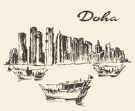 Doha skyline Dhow Qatar illustration drawn sketch Stock Photography